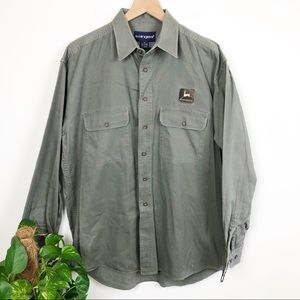 John Deere Embroidered Patch Shacket Top